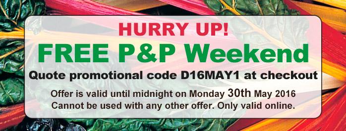 Free P&P Weekend